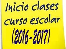 Inicio de las clases. Curso 2016-2017